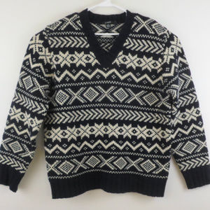 J Crew Nordic Fair Isle V-Neck Wool Ski Sweater L